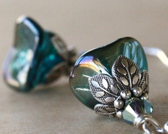 Gift For Mom, Teal Dangle Flower Earrings, Silver, Gift For Her, Gift For Girlfriend, Bridesmaids Earrings, Weddings, Bridesmaids Gift