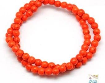 105 beads round 4mm bright orange Howlite (PH139)