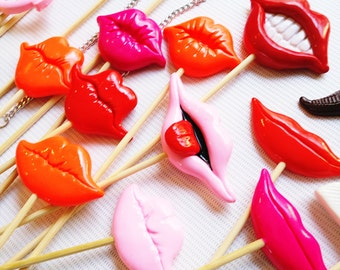 16Pc Plastic lips Photobooth Props, Polymer Clay Lips, Plastic Props, Photo Props, Wedding Photo Booth props, Birthday Photo Props