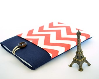 "iPad Mini Case, Chevron Galaxy Tab A 8""Case, Nvidia Shield K1 Sleeve, Amazon Fire HD, Kindle Paperwhite Cover Case - Coral Red and Navy Blue"
