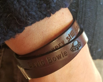 For Valentine's day,for him, for her,Bracelet  David Bowie, Leather Custom Bracelet, Triple Wrap Brown , Engrave Leather Bangle, gift friend