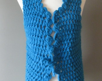 Vintage Hand Knit Sweater Vest Teal Blue with Tie in Front