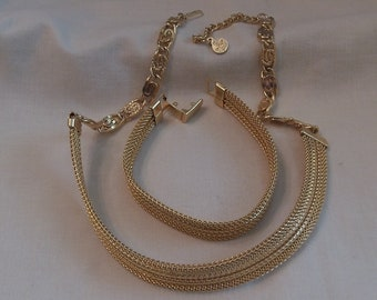 Caroline Emmons Network Choker and Bracelet Set 0534   Vintage, Goldentone