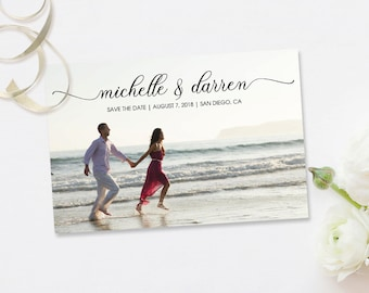 Calligraphy Save the Date Postcard - Handwritten Save the Date - Photo Save the Date - PRINTED or DIGITAL