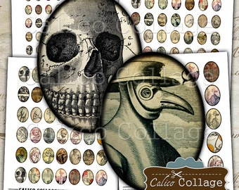 Macabre Collage Sheet, Oval Collage Sheet, Halloween Collage Sheet, Vintage Macabre, 30x40mm, 22x30mm, 18x25mm, 13x18mm, Vintage Gothic