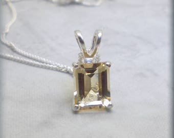 Golden Citrine Necklace, Emerald Cut Stone, 925 Sterling Silver, November Birthstone, Natural Citrine Gemstone, Citrine Jewelry