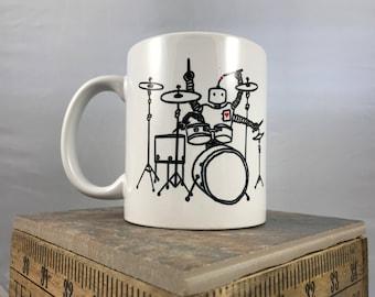 Robot Drummer coffee mug, hand painted, hand printed, cool fun drummer band gift mug, coffee tea mug cup, STEAM, engineer Space and Rocket