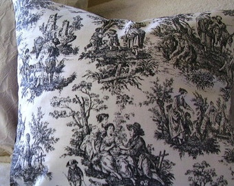 Black and white Waverly French Country Toile Pillow Cover / Cushion, 16x16.