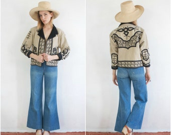 Guatemalan Embroider Coat // Vintage Wool Jacket Black White Collared Bohemian Womens Ethnic Antique Gypsy Adorned Jacket