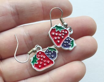 Vintage Berries Enamel 80's Dangle  Earrings