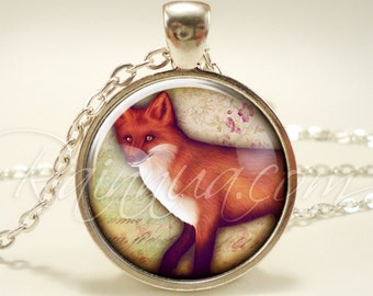 Cute Fox Necklace, Red Fox Vixen Jewelry, Woodland Nature Pendant (1953S1IN)