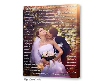 Wedding Canvas Gift, First Dance Lyrics, Canvas Art, Canvas quotes, Wedding vows, wedding sign, wedding anniversary gift for him, vow art