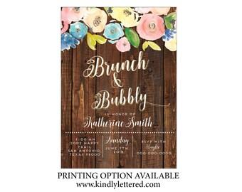 Rustic Floral Baby Shower Invitation-Vintage Rustic Invitation-Fall Baby Shower Invitation-Wood Floral Baby Shower Printable-Digital File