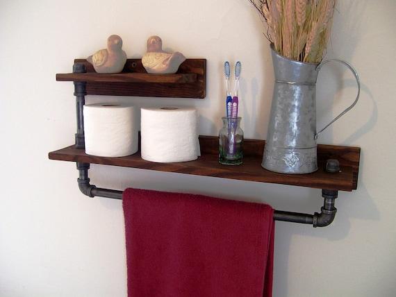 Rustic industrial 2 tier towel rack towel bar bathroom shelf - 2 tier bathroom shelf with towel bar ...