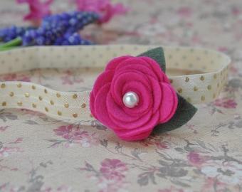 Hot Pink Wool Felt Headband, Baby Headband, Flower Headband, Hot Pink Headband. Toddler Headband. Rose Headband, Pink and Gold