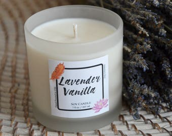 Lavender Vanilla Pure Soy Aromatherapy Candle, Luxury Candle Mothers Day Gift, Gift for Mom, Lavender Candle, Wholesale Lavender Soy Candles
