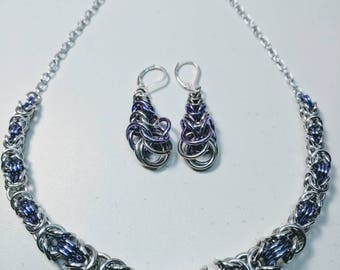Byzantine Weave Chainmaille Set - Necklace and Earrings