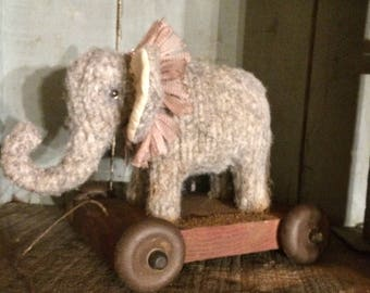 Primitive Old Look Elephant Pull Toy