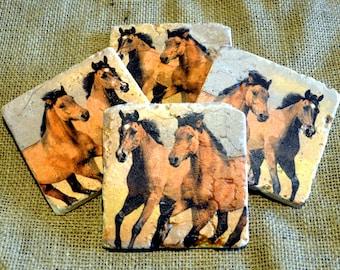 Horses Natural Stone Coaster