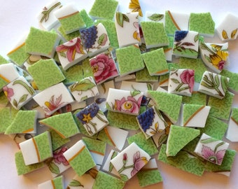 100 Limoges Green Pink Blue Yellow Hand Cut Vintage China Tiles//Broken Dish//Mosaic Supplies//Mosaic Pieces//Craft Jewelry