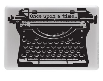 """Antique typewriter LAPTOP DECAL with """"Once upon a time"""" lettering decorative sticker by GraphicsMesh"""