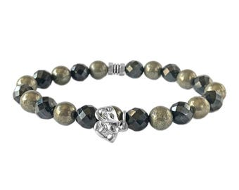 """925 Italy Silver Theater Mask Charm in Spinel-Pyrite Beads Bracelet 7"""""""