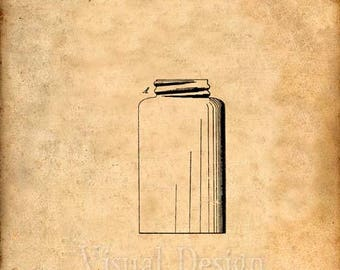 Mason Jar Patent Print - Art Print - Patent Poster - Kitchen Art - Kitchen Decor - Food