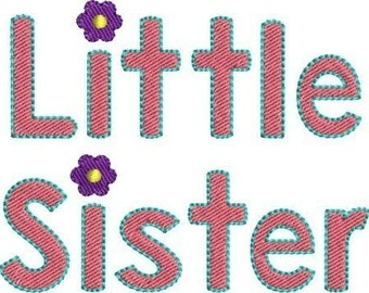 INSTANT DOWNLOAD Big Sister and Little Sister machine embroidery designs 4x4 hoop