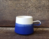 Handmade Copenhagen Mug in White + Cobalt Color Block