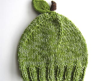 Green Apple Baby Hat - knitted cotton acrylic blend - green & brown - fruit knit beanie