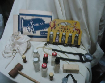 Vintage 1940's Small Fry Doctors Kit By Pressman Foxy Doctor Medical Toy Kit, collectable