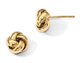 14k Yellow Gold 9mm Classic Love Knot Post Stud Earrings