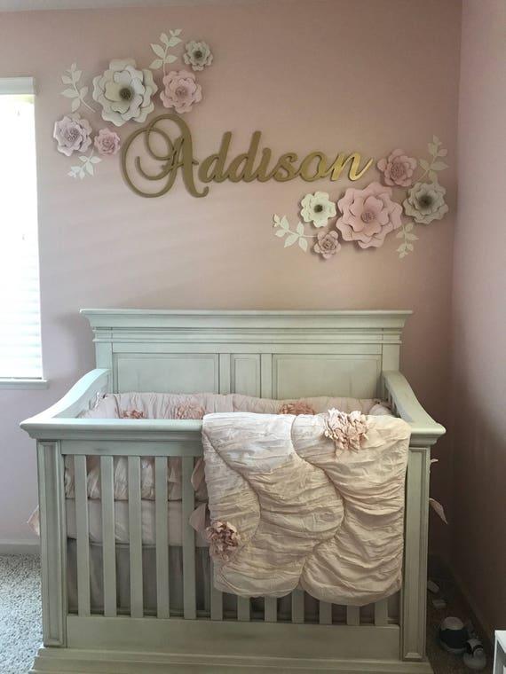 Set of 10 Blush & White Paper Flower Wall Decor Girls Room