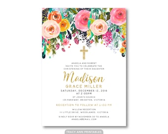 Floral Christening Invitation, Girl Baptism, Christening Invitation,  Floral Invite, Printable, Digital, 9002