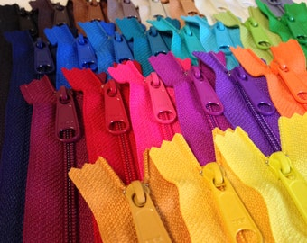 14 inch handbag zippers with long pull, 25 zippers in 25 colors, 4.5 mm coil, color sampler