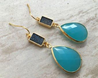 Twilight Drop Earrings,Teardrop Gemstone Earrings, Aqua Blue Teardrop Earrings, Blue Druzy Earrings, Wedding Earrings, Bridesmaid Earrings,