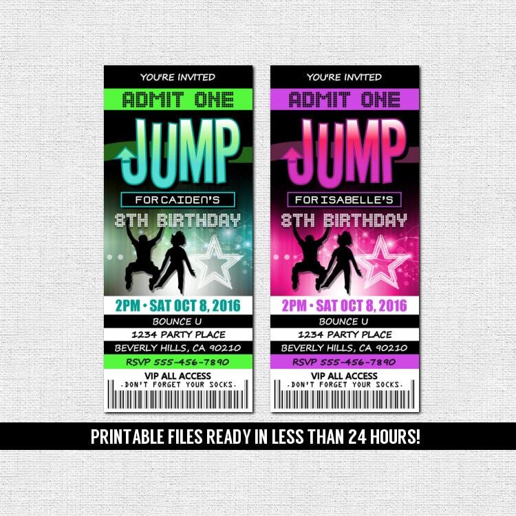 Jump Ticket Invitations Bounce House Trampoline Park