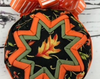 Falling for Autumn fabric quilted ornament
