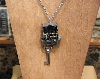 Steampunk Luggage Lock Necklace - Trunk Dial, Gear, Skeleton Key Pendant