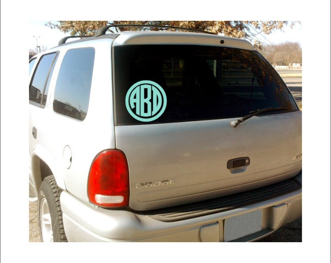 Circle Monogram Personalized Vinyl Car Decal Custom Initials Circle Border Preppy Monogram Everything Else