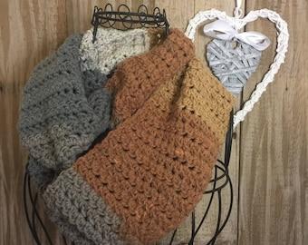 Handmade Crochet Women's Soft Comfortable Infinity Scarf - Grey/Brown/Off White