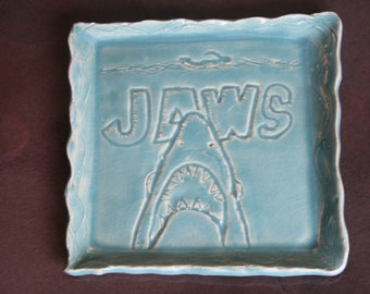 """Hand Carved """"Jaws"""" themed clay plate"""