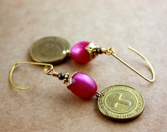 Boston Subway T Token Earrings - Vintage Fuchsia Moonglow Lucite