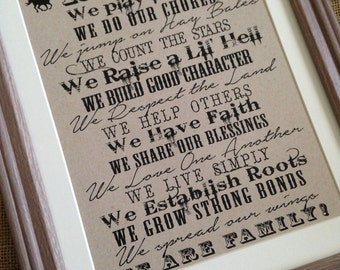 Ranch Farm Sign - What We Live By - Wall Art Decor - Inspirational - Eco - Recycled - Typography