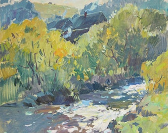Landscape, River landscape, Sunny, Original oil painting