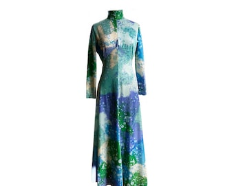 Vintage 70s Marbled Print Maxi Gown/ Monet Secret Garden/ 1970s long sleeve long dress/ aqua purple blue green