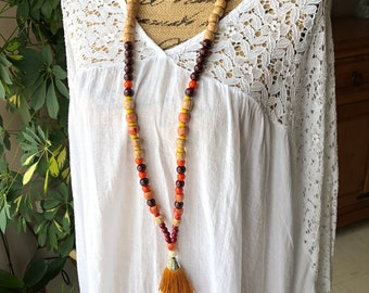 Necklace wood beads and gold tassel