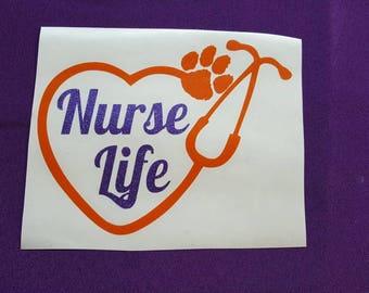 Clemson Nurse Life Heart  Stethoscope Decal, Nurse Life Heart Decal, Nurse  Decal, Stethoscope Decal, Nurse Gift, Clemson Nurse Decal