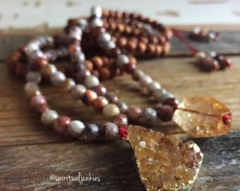 108 Bead Sandalwood, Crazy Lace Agate + Citrine Spiritual Junkies Yoga and Meditation Mini Mala