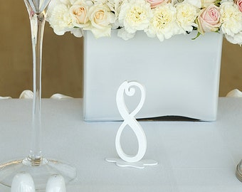 Table Number for wedding - White Wooden Table Number Decoration - Calligraphy Style